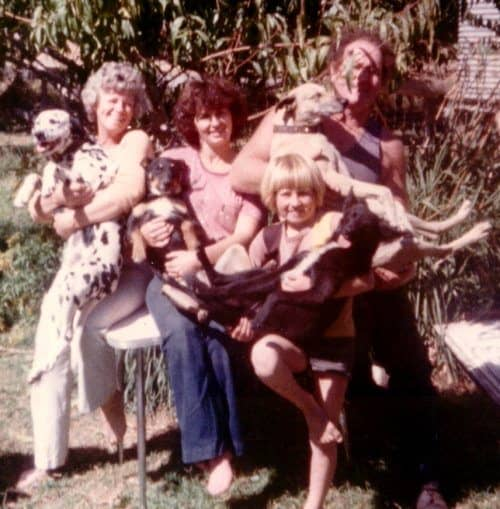 Denise Leo and her family with their much loved dogs.
